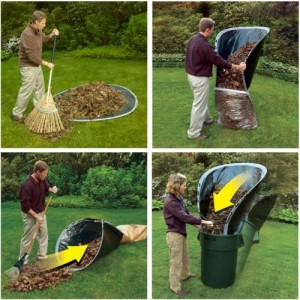 Male raking leaves